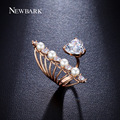 NEWBARK Sparkling Open Cubic Zirconia Rings For Women Simulated Pearls Adjustable Size Resizable Ring Hot Sale Anel