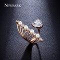 Newbark sparkling cubic zirconia anillos abiertos para las mujeres perlas simuladas ajustable tamaño del anillo dimensionable venta caliente anel