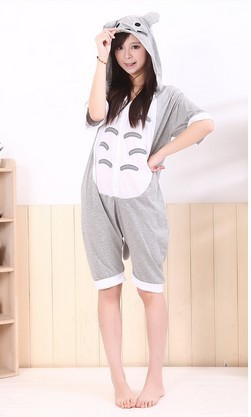 Free Shipping Adult Unisex Summer animal Gray Totoro onesie pajamas women  men short sleeve Onesie sleepwear pyjamas s7 348e32ccb