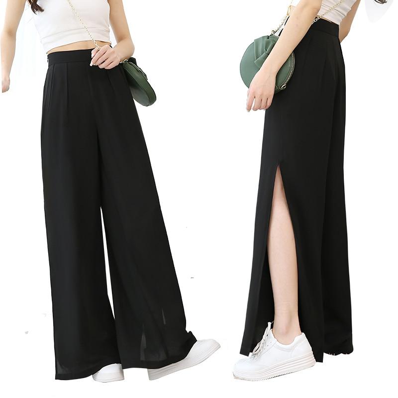 WKOUD Women's   Wide     Leg     Pants   Black Solid Chiffon Loose Trousers Side Split High Waist   Pants   Female Full Length Summer   Pant   P8383