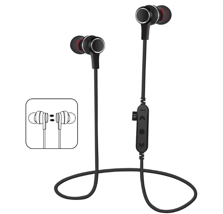 2018 T12 Metal Magnetic Bluetooth Earphone Headset Sport Wireless Bluetooth Headset With Mic MP3