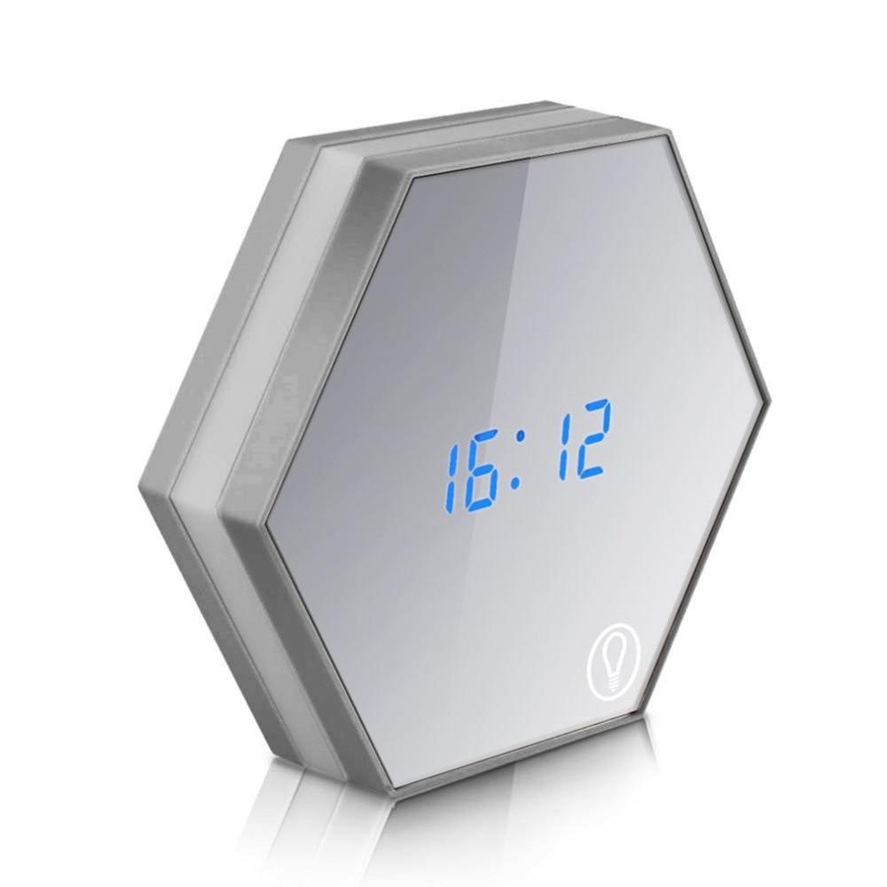 Multi-functional LED Mirror Digital Alarm Clock Night Light Thermometer Alarm Clock Touch Sensing Table Lamp Home Decor