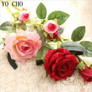 YO CHO sztuczne kwiaty róża dekoracje ślubne jedwabiu fałszywe Eustoma Fleurs Para Hogar boże narodzenie 8 kolorów rośliny dom rośliny