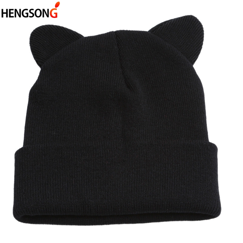 Lovely Warm Winter Casual Skullies Beanies Hat Hot Fashion Design Wool Cap Hat Gray White Cute Cat Ears Knitted Hat
