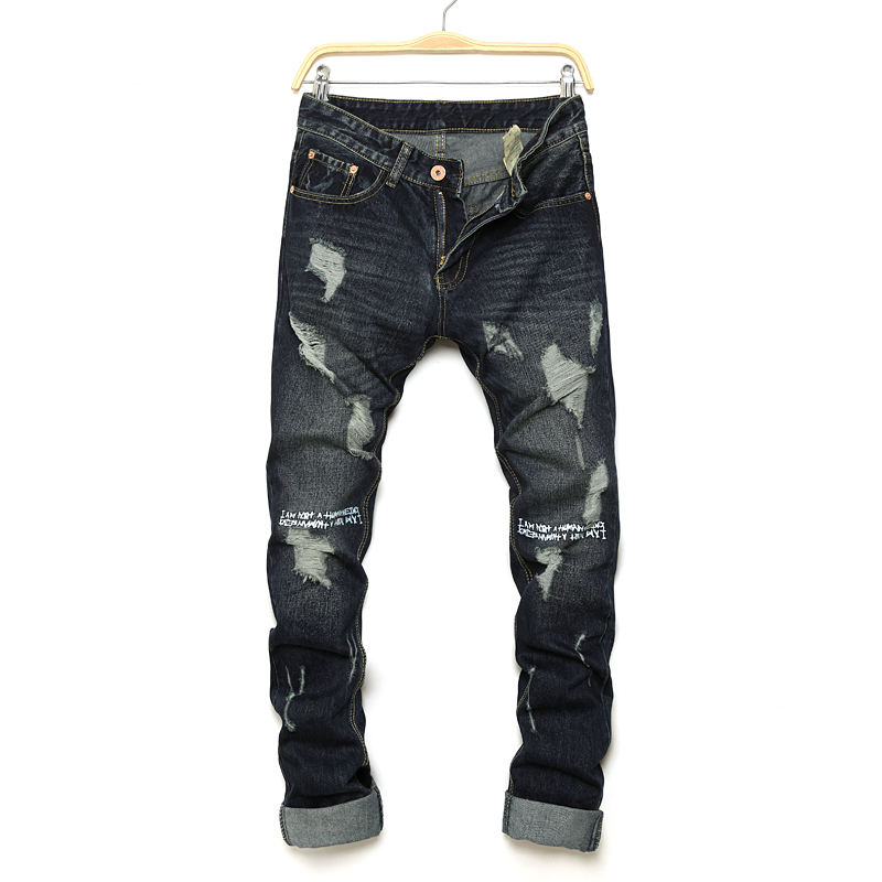Moda uomo jeans neri slim fit uomo denim hiphop swag stretch