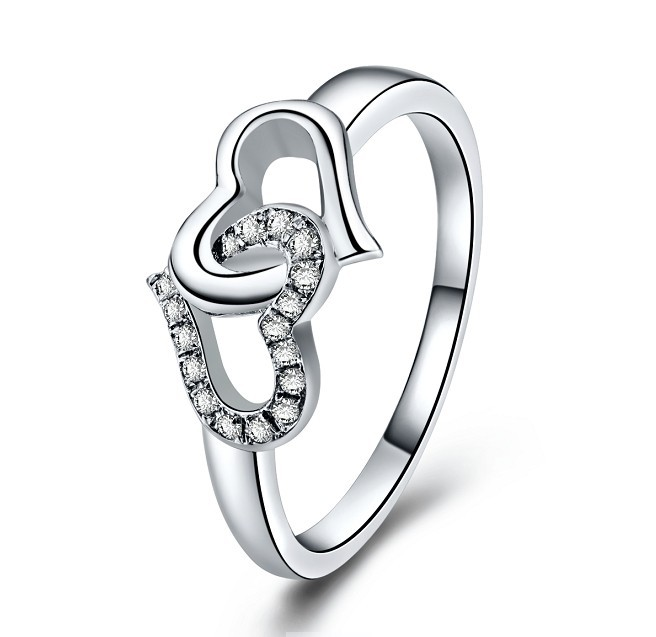 Very Solid Gold 14K Heart in Heart Style Engagement Love Marriage  EI67