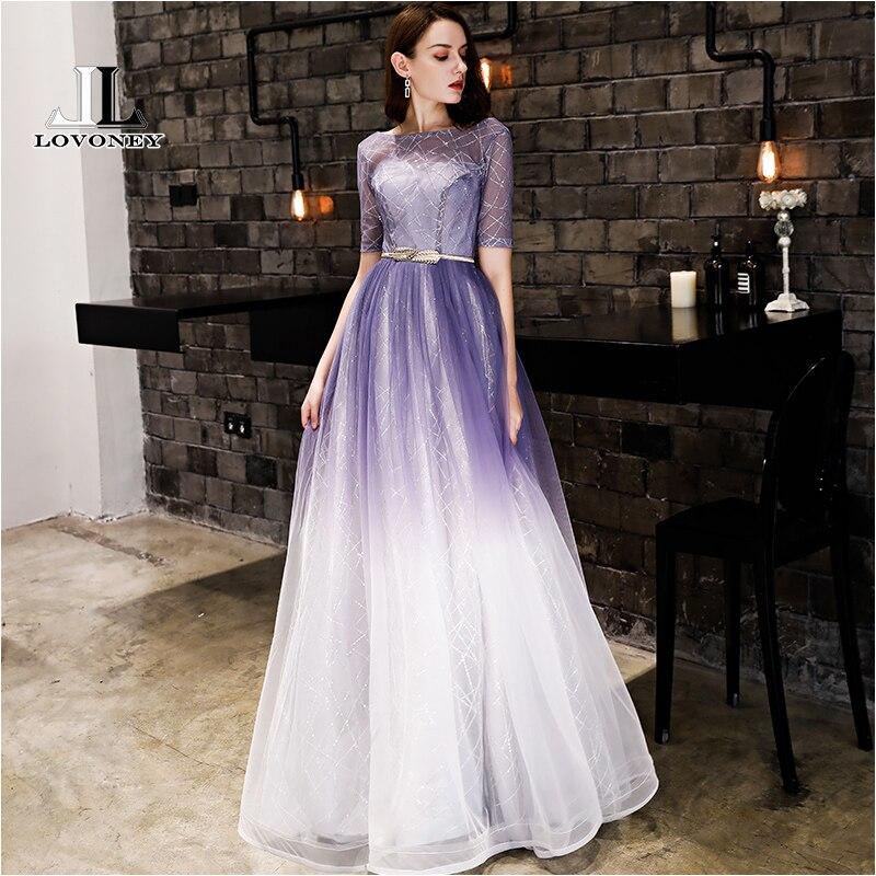 LOVONEY Elegant Evening Dress Long Gradient Color Sexy V Opening Back Formal Party Dresses Short Sleeves