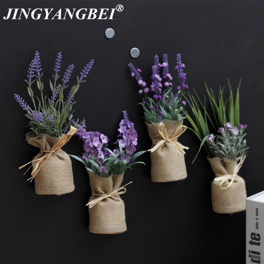 Burlap Fridge Magnets Lavender Plant Potted Artificial Flowers Bonsai Set Fake Flower Vase Souvenir Blackboard Magnetic Sticker