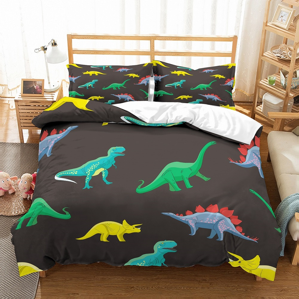Microfiber Bedding Set Kid Green/Blue/Yellow Dino Bedspread Printed Background Black Dino Duvet Cover 3 Pieces With 2 Pillowcase