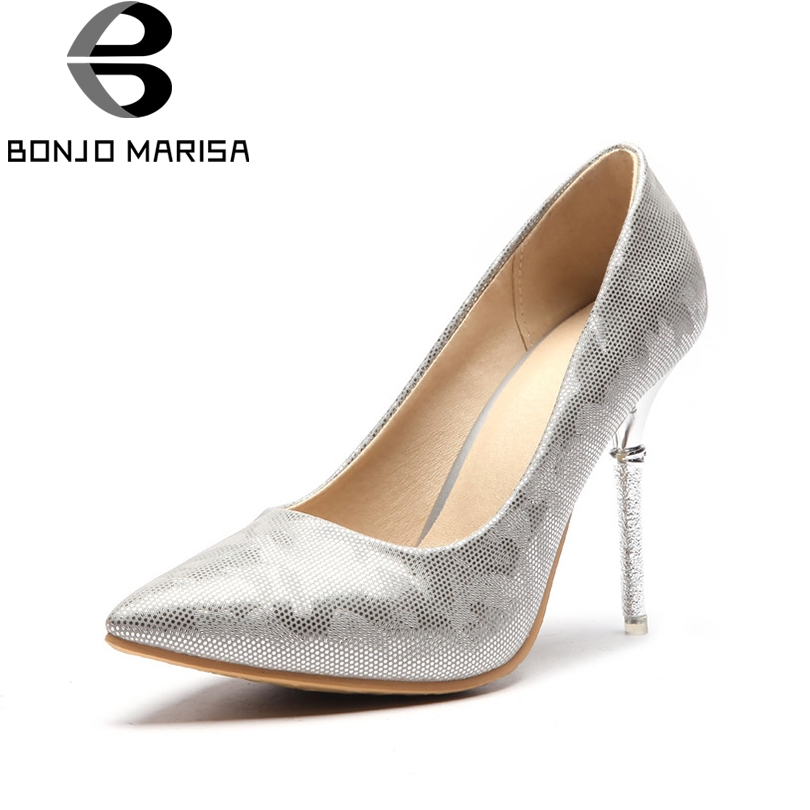 BONJOMARISA Women's Thin High Heels Pointed Toe Synthetic Upper Shoes Woman Party Wedding Less Platform Pumps Big Size 33-48 baoyafang new fashion womens wedding shoes high heels platform shoes 8cm 11cm 14cm big size 43 woman thin heel pumps