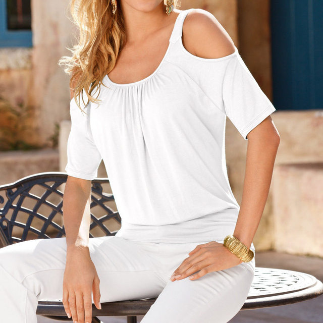 Summer Short Sleeve Women T Shirt Hole Shoulder O-Neck Plus Size Lady Sexy Top Tees poleras de mujer camisetas femininas Z2076