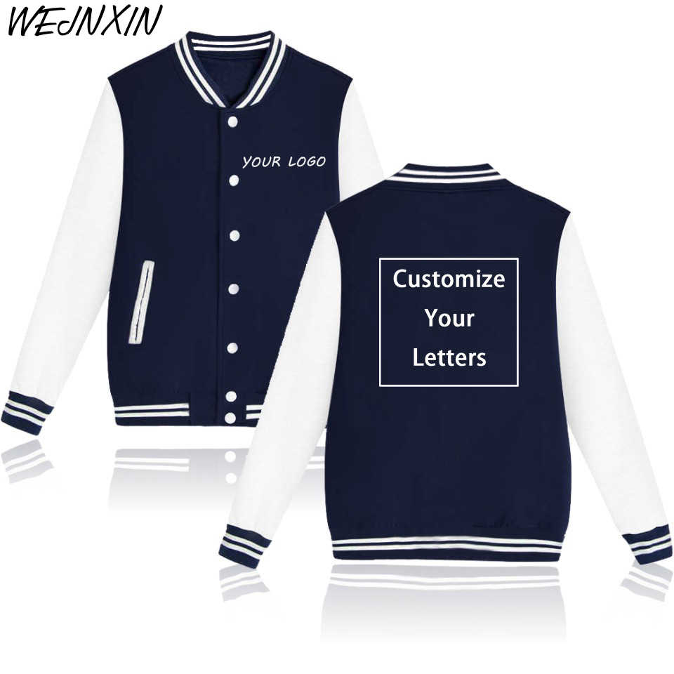 WEJNXIN Custom Logo Baseball Jacket DIY Customized Design Hoodies Photo Text Image Cartoon Anime Print Tracksuit Men Women