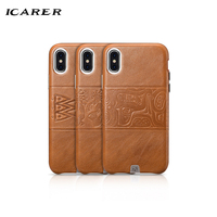 ICarer Original For Apple Iphone X Case Luxury Brand Ultra Thin Slim Hard Leather Totem Armor