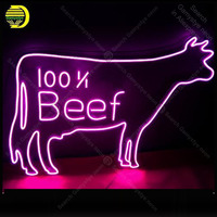 Neon Sign for 100 percent Beef Real Glass Tube Neon Bulb Signboard decorate restaurant Handcraft sign Light up sign lampara