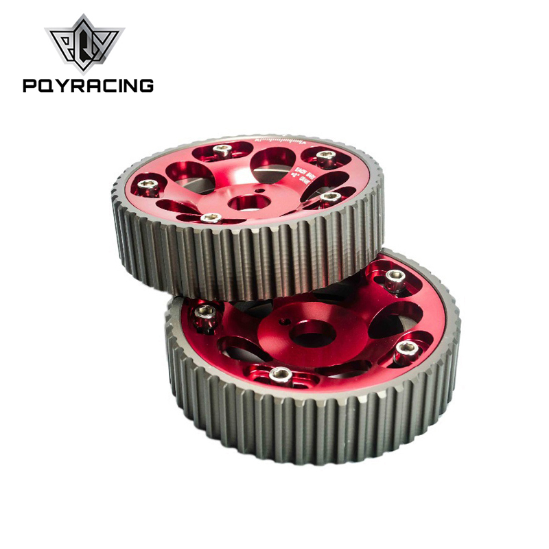 PQY - (1Pair)FOR <font><b>Toyota</b></font> <font><b>1JZ</b></font> <font><b>2JZ</b></font> DOHC Engine Adjustable Aluminum Pulley Cam Gear Red PQY6531R image