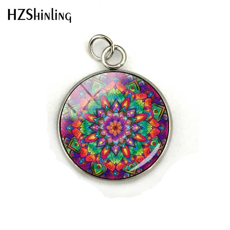 美容明るいカラフルな曼荼羅ジュエリーチャームガラスのカボションの花ライフステンレス鋼メッキペンダントアクセサリーギフト