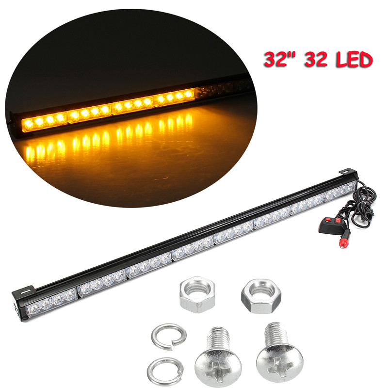 32 32 LED Emergency Traffic Advisor Light Bar Flash Strobe Amber Yellow Durable Quality