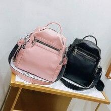 Soft Leather Backpack Women Multi-function Shoulder Bag Teenage Girls School Bag Female Solid Travel Bags mochila Black