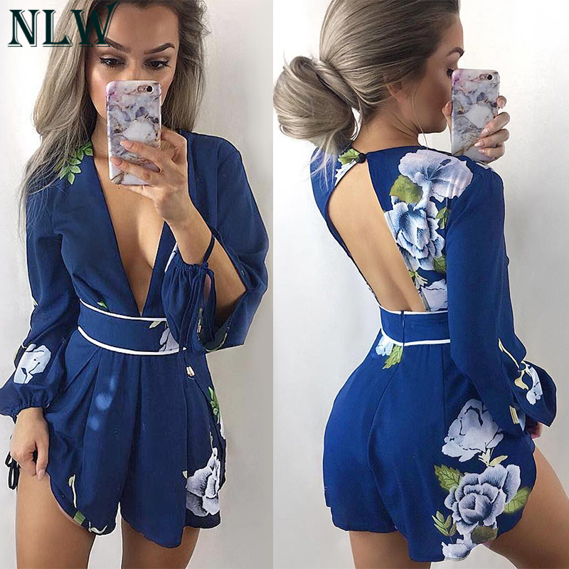 NLW Navy Blue Floral Summer Playsuit Women Boho Sexy Jumpsuit 2018 Deep V Neck Lantern Long Sleeve Chic Romper Overalls Bodysuit