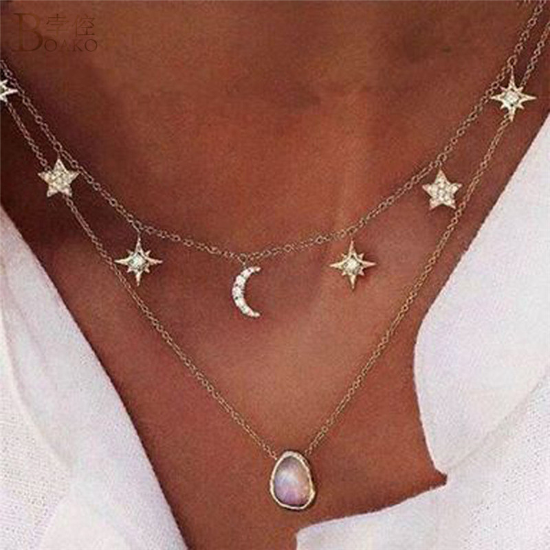 BOAKO Double Layer Star Moon Necklace Bohemian Long Pendant Necklace For Women Fashion Bijoux Jewelry Statement Necklace Collier