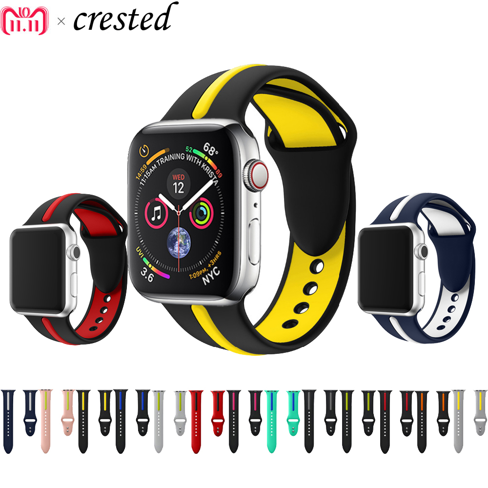 CRESTED sport silicone strap for apple watch band 42mm 38mm 3/2/1 bracelet Double color rubber wrist watch belt for iwatch