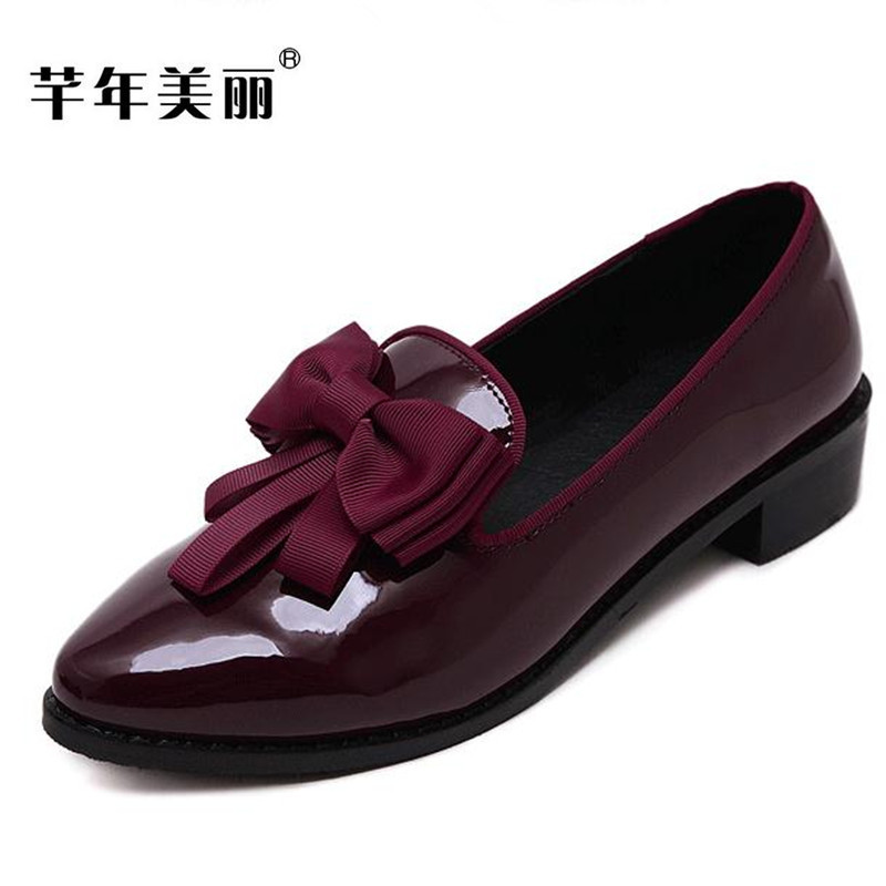Flats female shoes 2017 autumn new Pointed head large size Bowknot red patent leather Women Shoes size 34-43 zapatos mujer obuv new black martin shoes fashion spring women shoes flats casual oxford shoes female obuv zapatos mujer