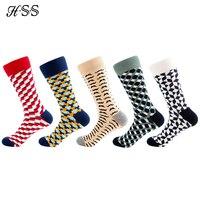 HSS Happy Socks Men's Funny Socks High Quality Cotton Men Dress Socks Novelty Warm Art Sock Socken Herren Thick Wool 5 pairs/lot Socks