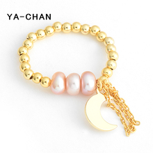 ФОТО ya-chan 925 sterling silver beaded rings with freshwater pearl handcraft 18 k gold tassel moon pendant adjustable rings jewelry