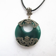 KJJEAXCMY boutique jewelry S925 Sterling silver taiyin natural green agate pendant retro fashion exaggeration s990 sterling silver fashion jewelry personalized men s retro thai silver spike mosaic agate turquoise pendant