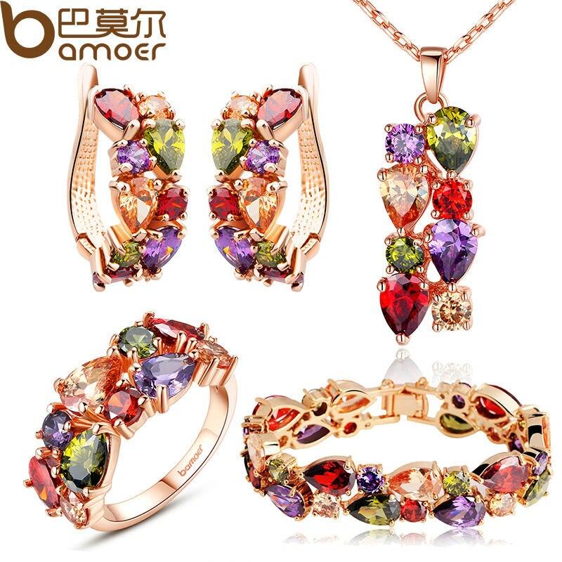BAMOER יוקרה צבע זהב המונה ליזה סטי תכשיטים עם צבעים AAA מעוקב זירקון לנשים סטי תכשיטי כלה לחתונה ZH036