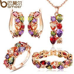 BAMOER Luxury Gold Color Mona Lisa Jewelry Sets with Multicolor AAA Cubic Zircon for Women Wedding Bridal Jewelry Sets ZH036