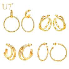 U7 Gold Hoop Earring For Women Girls 2019 New Fashion Geometric Earring Brinco Round Drop Earring Women's Daily Jewelry Gifts(China)