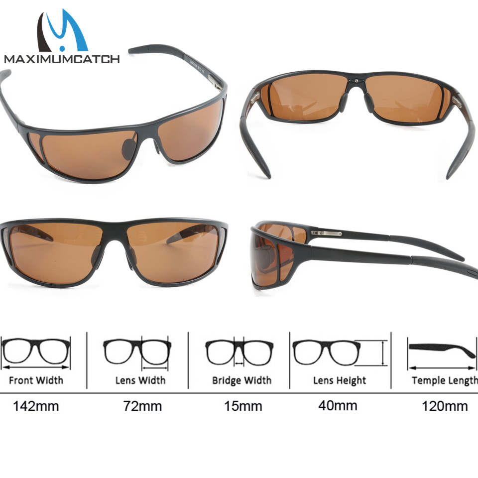 Maximumcatch Titanium Metal Frame Fly Fishing Polarized Sunglasses Gray/Yellow/Brown Color Fishing Sunglasses