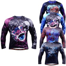 Life on track Men`s Long Sleeve Cycling Jersey Workout Long-lasting & Safe Printing UV-Proof Breathable MTB Bike Jersey