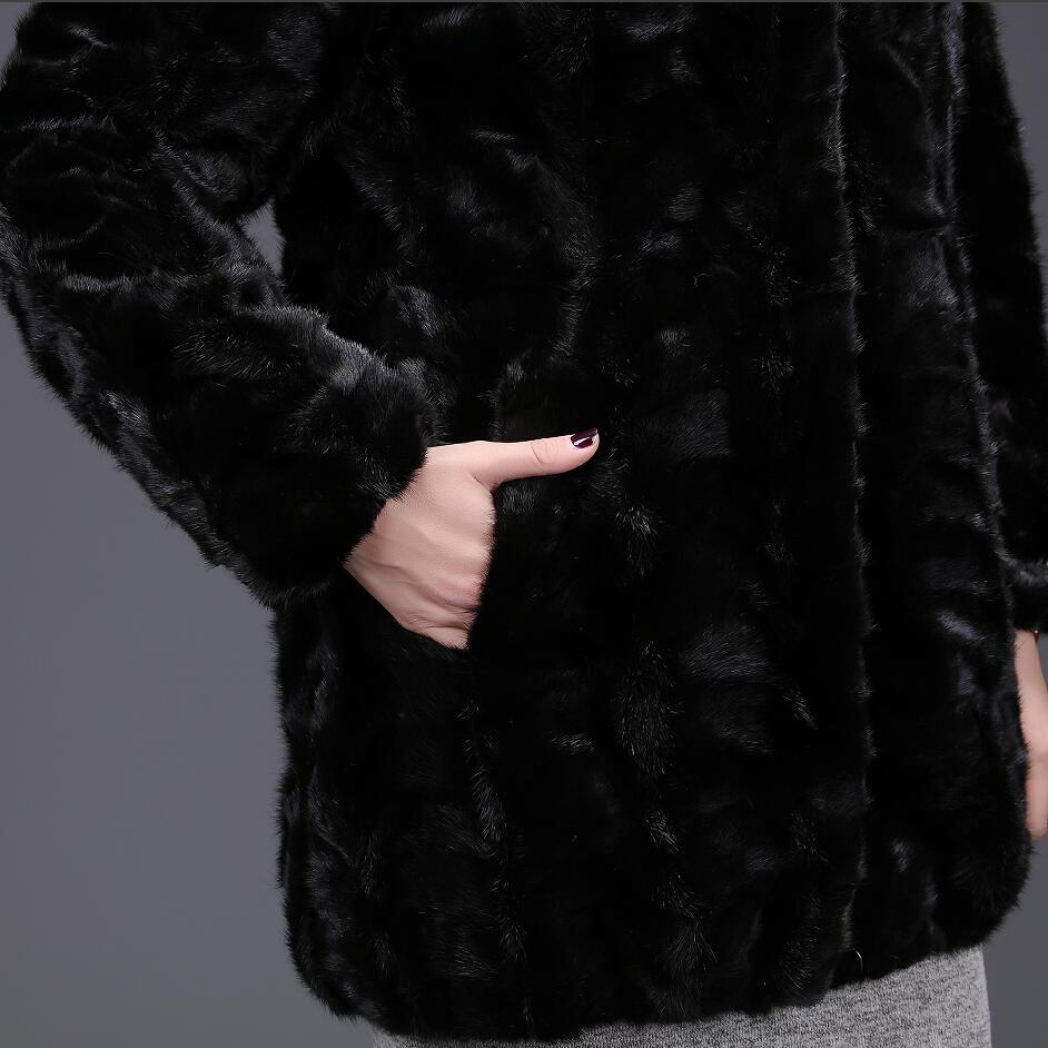2018women's Avec Automne L'eau Veste Vison Chaleur Européenne Vrai Mode De Fourrure Black Naturel Hiver Renard Casual Col r0w7qXrx