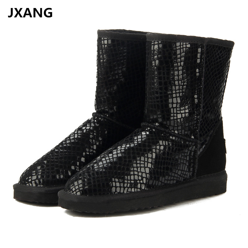 JXANG Australia Classic Hot Sale Fashion Genuine Cowhide Leather Snow Boots Winter Fur Waterproof Women Shoes Botas Mujer image