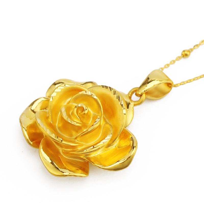 999 24K Yellow Gold Rose Flower Pendant Women 3D 999 Gold Pendant 1 81g