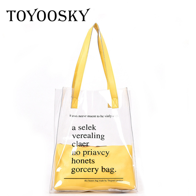 b73b2dc489 TOYOOSKY 2018 Luxury Brand Clear PVC Tote Bag Large Transparent Plastic Beach  Bags Women Summer Handbags Fashion 2PCS wholesale