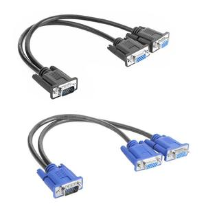 VGA Splitter Cable 1 Computer to Dual 2 Monitor Adapter Y Splitter Male to Female VGA Wire Cord for PC Laptop(China)