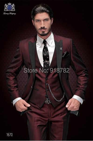 新ブランド新郎タキシード 2018 カスタムメイドワイン赤男性スーツ Terno スリムフィットピークに付添人男性の結婚式ウエディングスーツ