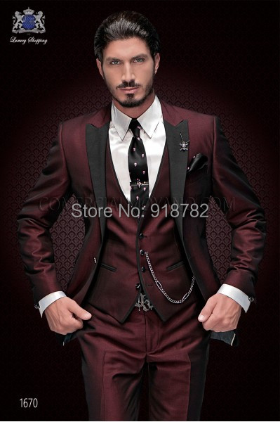 Nouvelle Marque Marié Smoking Costume 2018 Custom Made Vin Rouge Hommes  Costumes Terno Slim Fit A d2f5da0fb7a