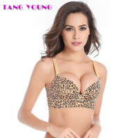 TANG YOUNG Women Deep V Sexy Leopard Bra Wireless Push Up Bra Comfortable Underwear 80B Bra