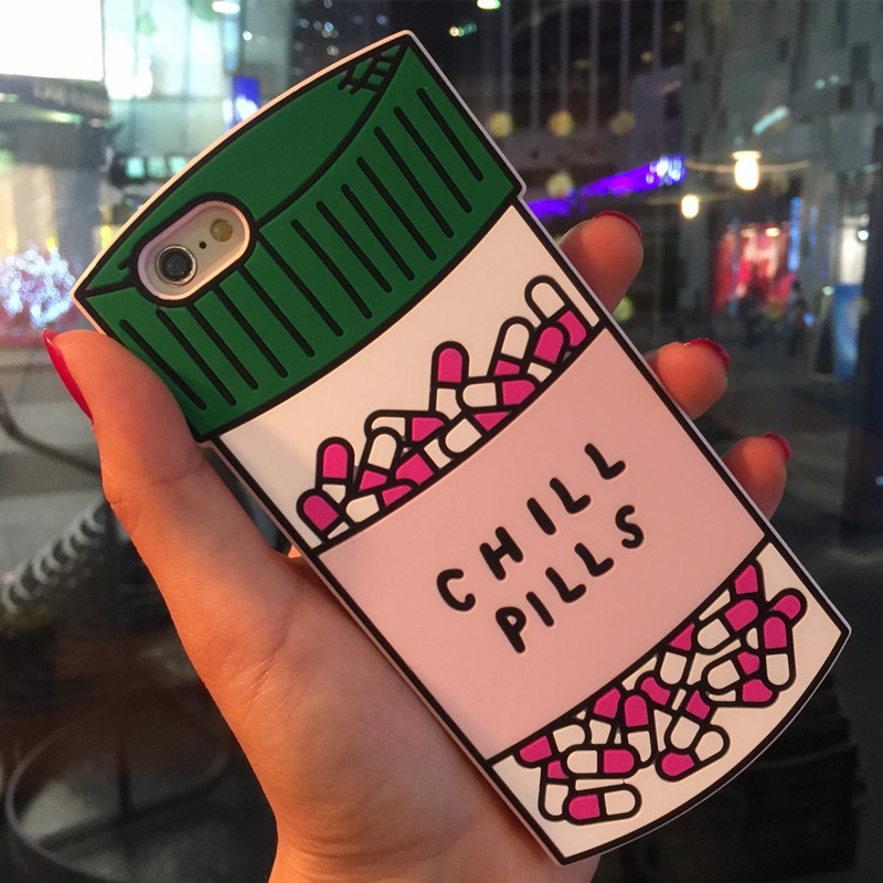 Galleria fotografica 3D Love Potion Chill Pills Silicone Case For iPhone 5 5S 5C SE 6 6S 7 6 Plus 6S 7 Plus Bottle Phone Cover