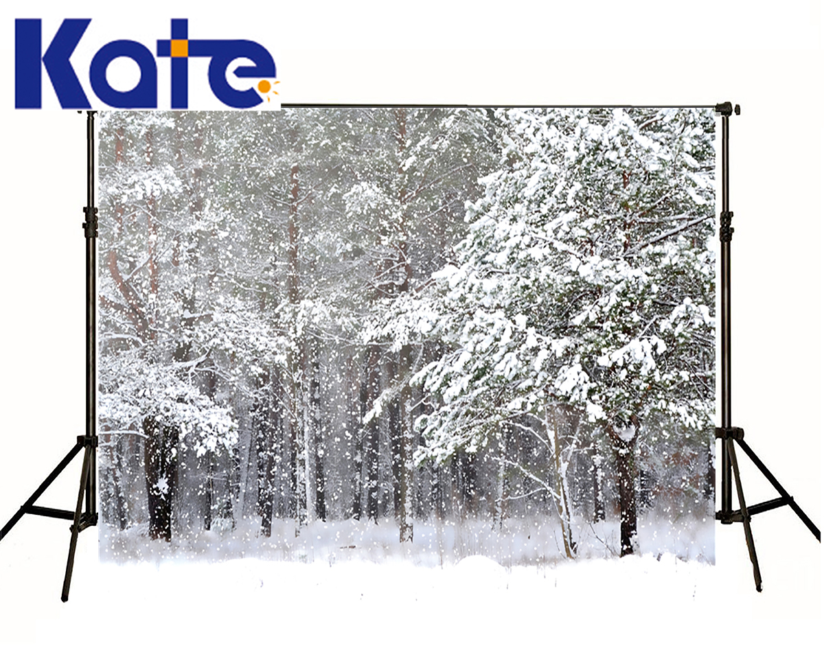 KATE Winter Backdrops Photography Ice Snow Tree Scenery Photo Shoot White Forest World Backdrops For Photo Studio kidniu scenery photography backdrops trees lake photo props wallpaper winter snow vinyl background for studio 9x5ft win1403