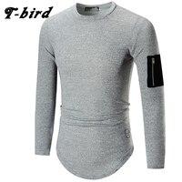 T-Vogel Nieuwe Merk 2017 Mannelijke Slim Fit T-shirt Mouwen Pocket heren Katoen Lange Mouw T-Shirts Mannen Zomer Tee Casual Tshirt Mannen XXL