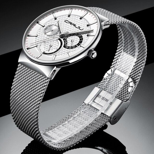 Męskie zegarki CRRJU Top marka luksusowy wodoodporny Ultra cienki data zegar męski stalowy pasek zegarek kwarcowy na co dzień biały sportowy zegarek