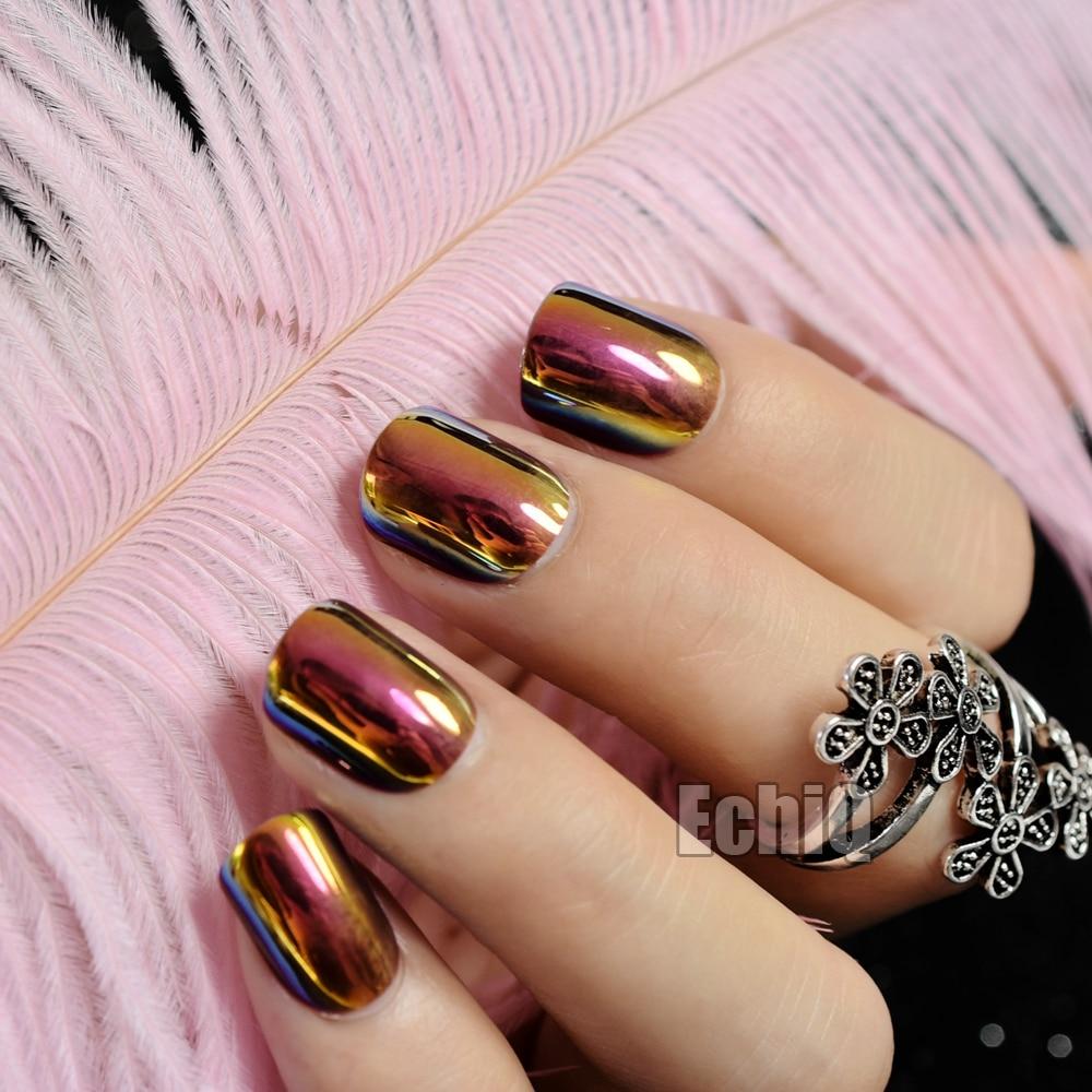 24pcs New Brown False Nails Metallic Gold Acrylic Nails Tips Press ...