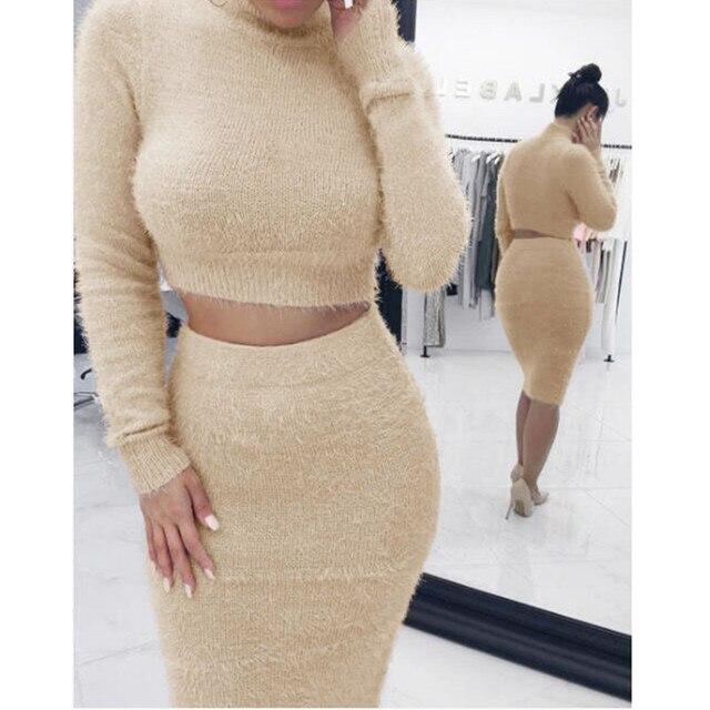 Autumn 2pcs Set Women Bandage Suit Long Sleeve Fleece Crop Top Pencil Midi Skirt Solid Bodycon Dress Sweater Tracksuit Outfit