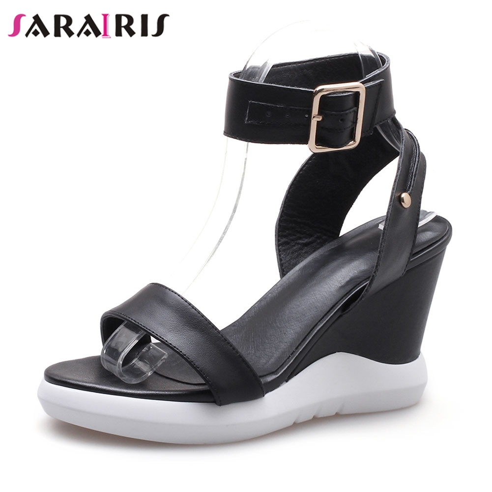 SARAIRIS Brand New Summer Sandals 2019 womens Genuine Leather Ladies Wedges High Heels Shoes Woman Casual Party Ol ShoesSARAIRIS Brand New Summer Sandals 2019 womens Genuine Leather Ladies Wedges High Heels Shoes Woman Casual Party Ol Shoes