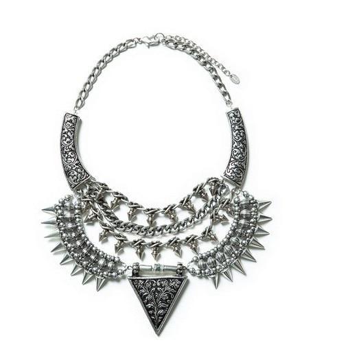 Brand punk rivet necklace spikes statement necklace for women alloy vintage necklaces & pendants fashion jewelry wholesale